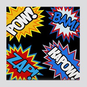 Hero Comic Pow Bam Zap Bursts Tile Coaster