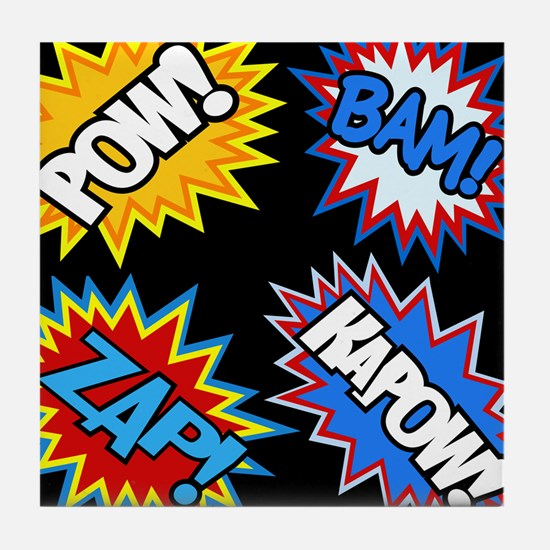 Hero Comic Pow Bam Zap Bursts Tile Coaster