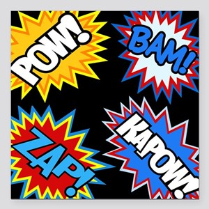 Hero Comic Pow Bam Zap Bursts Square Car Magnet 3""