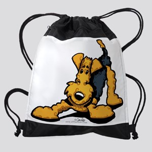 airedale-play-lt Drawstring Bag