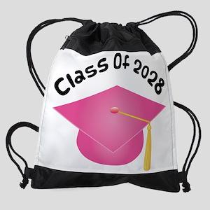 2028 pink hat Drawstring Bag