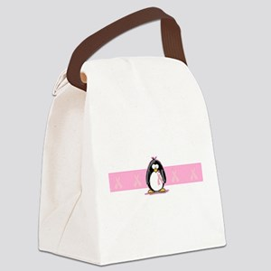 pink ribbon penguin Canvas Lunch Bag