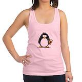 Penguin drinking beer Womens Racerback Tanktop