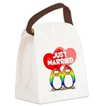 Just Married Rainbow2.png Canvas Lunch Bag