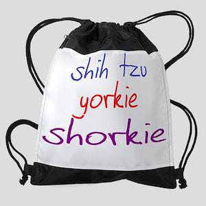 shorkie_black Drawstring Bag