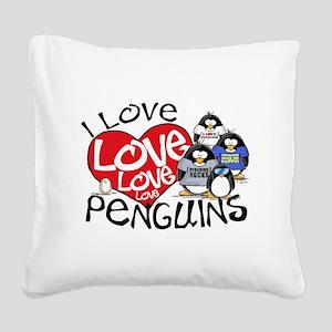 ILovePenguins2 Square Canvas Pillow