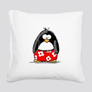 penguin-swimtrucks Square Canvas Pillow