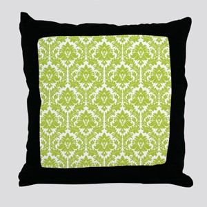 Spring Green Damask Throw Pillow