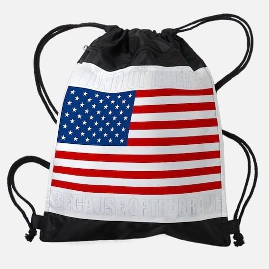 BECAUSEOFTHEBRAVEdark.png Drawstring Bag