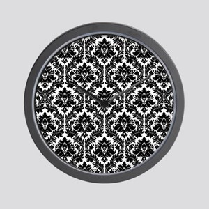 Black and White damask Wall Clock