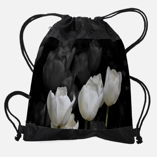 White Tulips Drawstring Bag