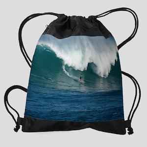 Waimea Bay Big Surf Hawaii Drawstring Bag