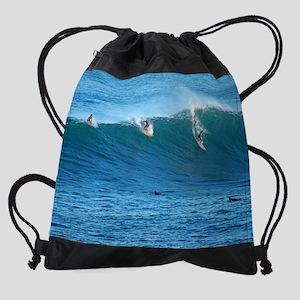 Waimea Bay Big Surf Drawstring Bag