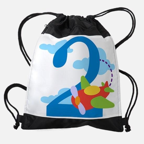 2nd Birthday Airplane Drawstring Bag