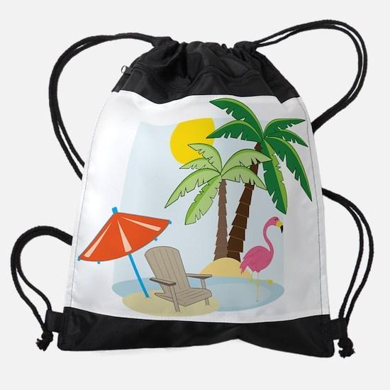 Summer Beach Drawstring Bag