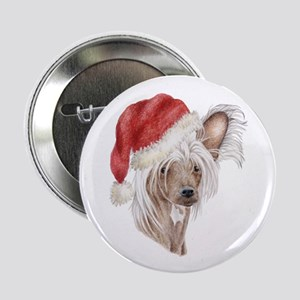 Christmas Chinese Crested dog Button