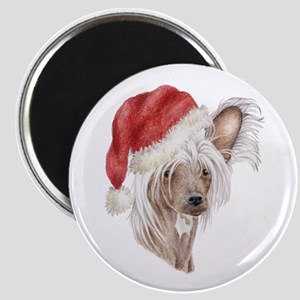 Christmas Chinese Crested dog Magnet