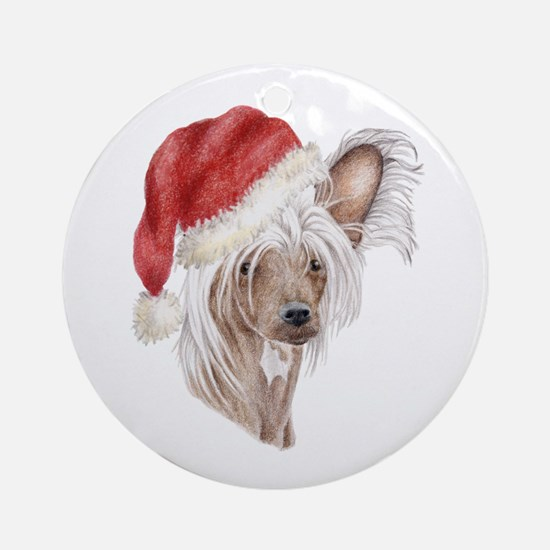 Christmas Chinese Crested dog Ornament (Round)