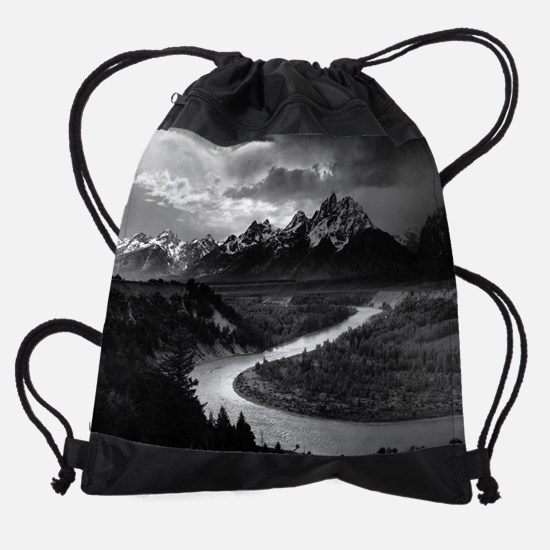 Ansel Adams The Tetons and the Snak Drawstring Bag