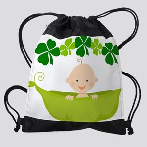 Lucky Irish Baby Four Leaf Clover P Drawstring Bag