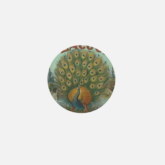 Peacock Antique Label Victori Mini Button