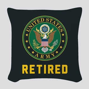 US Army Retired Woven Throw Pillow