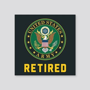 """US Army Retired Square Sticker 3"""" x 3"""""""