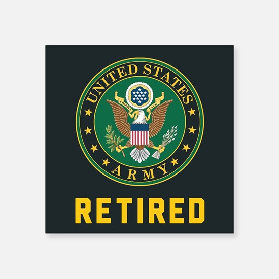 "US Army Retired Square Sticker 3"" x 3"""