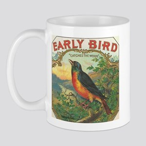 Robin Early Bird vintage label Mug