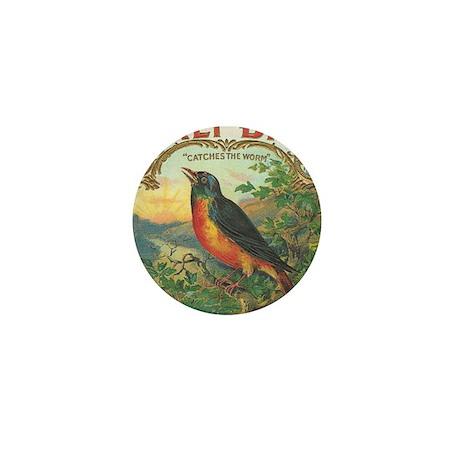 Robin Early Bird vintage label Mini Button