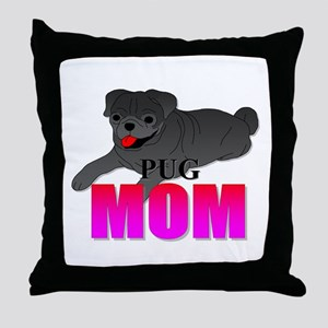 Black Pug Mom Throw Pillow