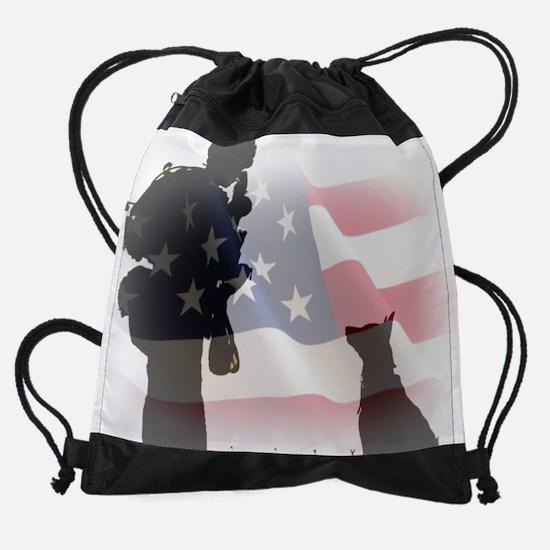 Soldier and shepard Drawstring Bag