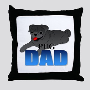 Black Pug Dad Throw Pillow