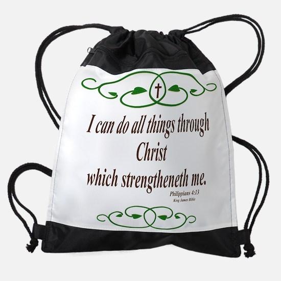 Philippians 4 13 Bible Verse Drawstring Bag