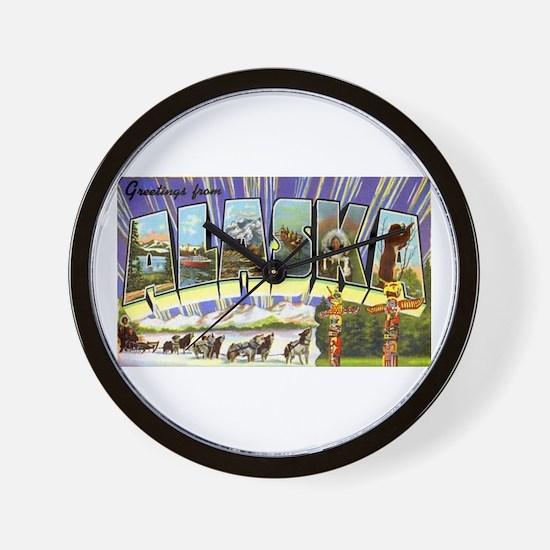 Alaska Greetings Wall Clock