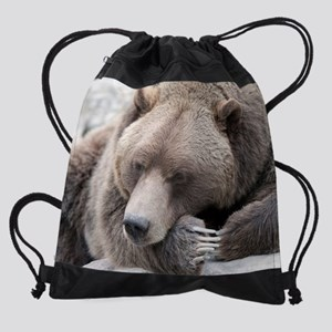 Lazy grizzly Drawstring Bag