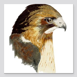 "Red-tailed Hawk Square Car Magnet 3"" x 3"""