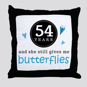 54 Year Anniversary Butterfly Throw Pillow