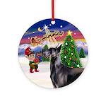 Santa's Take Off Blue Great Dane Ornament (Round)