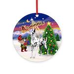 Santa's Take Off & Great Dane (H) Ornament (Ro