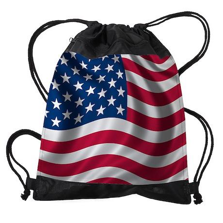 USA Flag Drawstring Bag