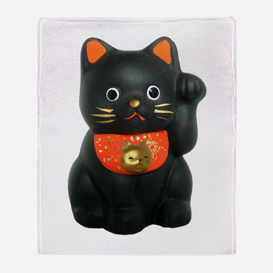 Black Lucky Cat Throw Blanket