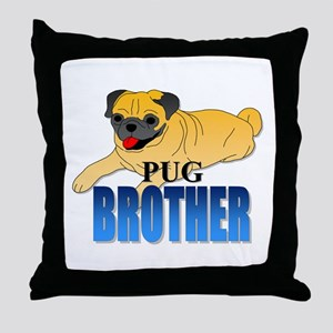 Fawn Pug Brother Throw Pillow