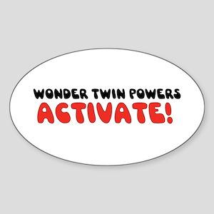 Wonder Twin Text Oval Sticker