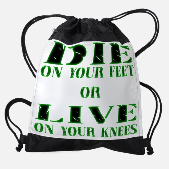 Die or Live Green Drawstring Bag