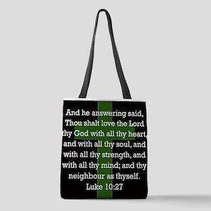 Luke 10:27 Polyester Tote Bag
