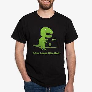 T-Rex Loves Disc Golf Dark T-Shirt