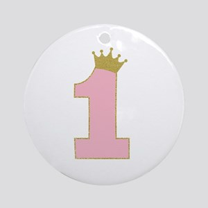 1st Gold and Pink princess birthday girl Round Orn