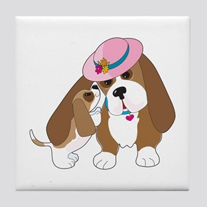 Basset Talk Mom Tile Coaster