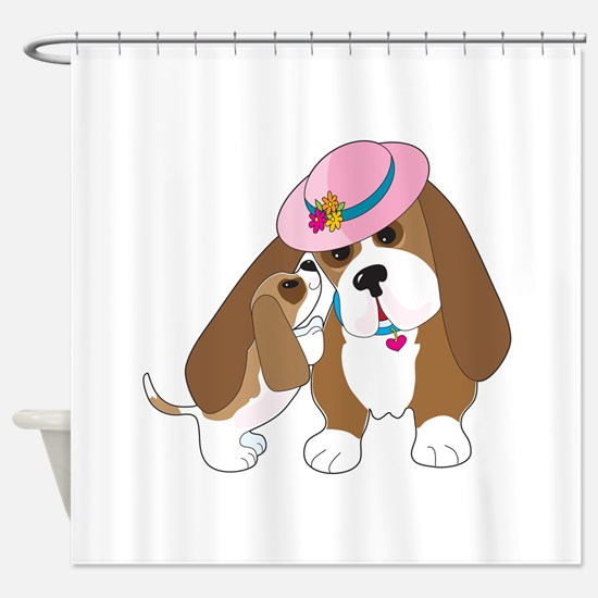 Basset Talk Mom Shower Curtain